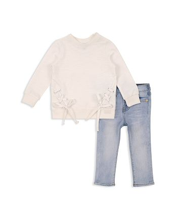 7 For All Mankind - Girls' Lace Up Top & Skinny Jeans Set - Baby