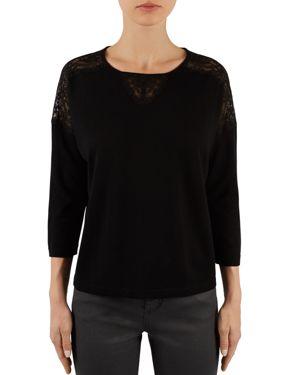 Gerard Darel Lenny Lace-Yoke Sweater