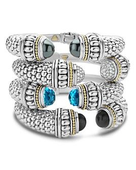 LAGOS - 18K Gold and Sterling Silver Caviar Color Gemstone Cuffs, 14mm