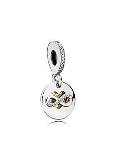 Pandora - Sterling Silver 14K Gold & Cubic Zirconia Heart of Infinity Dangle Charm