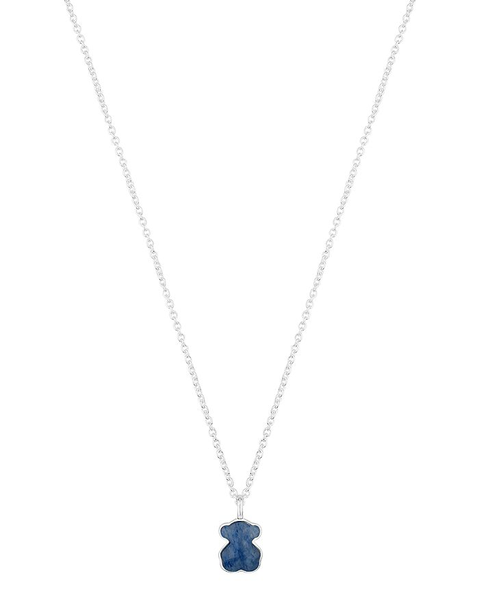 TOUS - Sterling Silver & Sodalite Bear Pendant Necklace, 18""