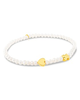 TOUS - Cultured Freshwater Pearl Bear & Heart Charm Stretch Bracelet