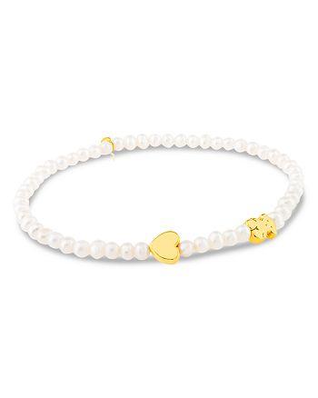 TOUS - Cultured Freshwater Pearl Bear & Heart Charm Stretch Bracelet
