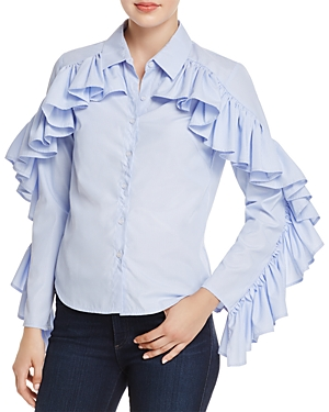 Alpha and Omega Stripe Ruffle-Trim Shirt