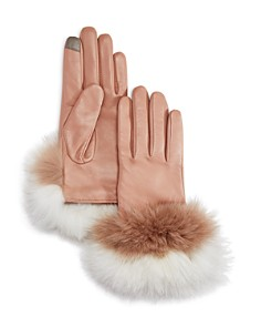 Echo Fox Fur Trim Leather Tech Gloves - Bloomingdale's_0