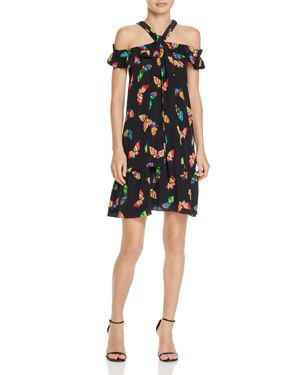 Boutique Moschino Butterfly Print Silk Cold Shoulder Dress