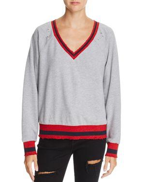 Honey Punch Varsity Metallic Striped-Trim Sweatshirt