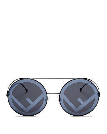d44d29d6aa0 Fendi Women s Mirrored Oversized Logo Print Lens Round Sunglasses ...