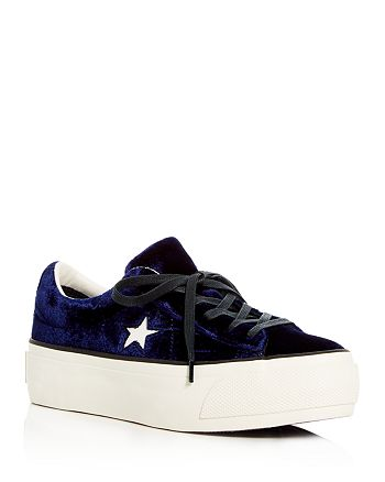 Converse - Women's One Star Velvet Lace Up Platform Sneakers