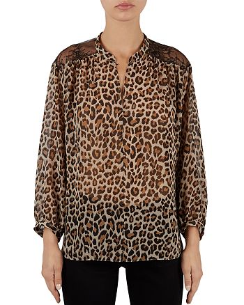 Gerard Darel - Banksia Lace Shoulder Leopard Print Blouse
