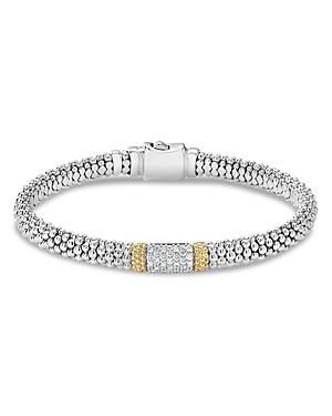 Lagos 18K Gold & Sterling Silver Diamond Lux Bracelet