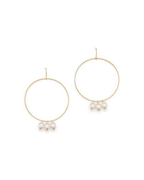 Bloomingdale's - Cultured Freshwater Pearl Charm Hoop Drop Earrings in 14K Yellow Gold, 6-8mm  - 100% Exclusive