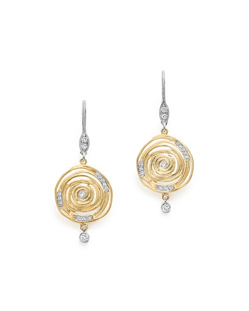 Meira T 14k White And Yellow Gold Spiral Circle Diamond Disc Earrings