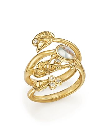 Temple St. Clair - 18K Yellow Gold Royal Blue Moonstone and Diamond Leaf Ring