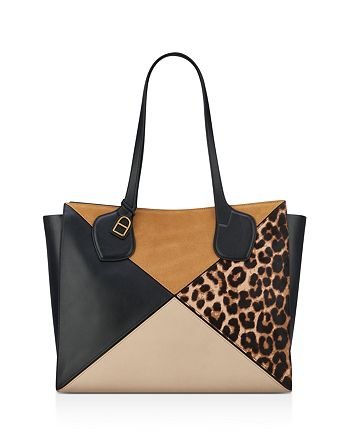 Anne Klein - Julia East/West Leopard Print Large Calf Hair and Leather Tote