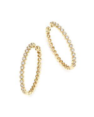 Bloomingdale's Diamond Milgrain Bezel Oval Hoop Earrings in 14K Yellow Gold, 1.0 ct. t.w. - 100% Exc