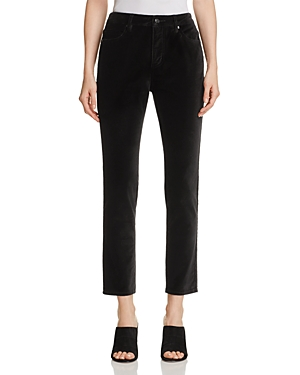 kate spade new york Velvet Straight Jeans in Black