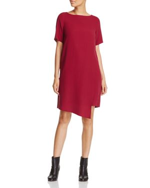 Eileen Fisher Asymmetric Overlay Silk Dress