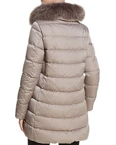 Herno - Fox Fur Trim Satin Down Coat