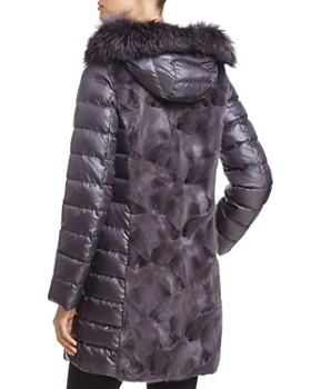 Maximilian Furs - Mink Fur Trim Down Coat with Fox Fur Hood