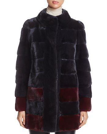 Maximilian Furs - Color-Block Kopenhagen Mink Fur Coat - 100% Exclusive