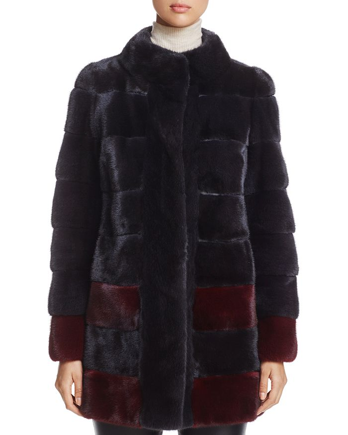 Maximilian Furs - Color-Block Kopenhagen Mink Fur Coat - 100% Exclusive