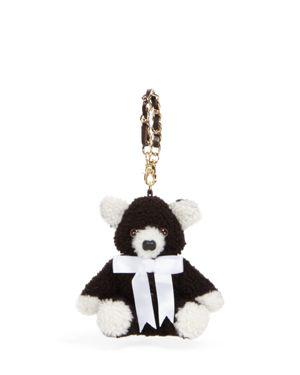 Maximilian Furs Lamb Shearling Teddy Bear Key Chain