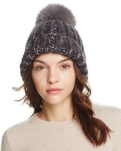 Eugenia Kim Rain Fox Fur Pom-Pom Metallic Beanie - Bloomingdale's_0