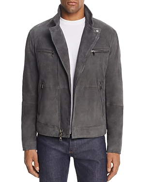 John Varvatos Collection Gray Suede Moto Jacket
