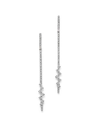 KC Designs - 14K White Gold Diamond Line Drop Earrings