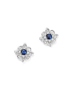 Kc Designs 14K White Gold Floral Diamond & Sapphire Stud Earrings