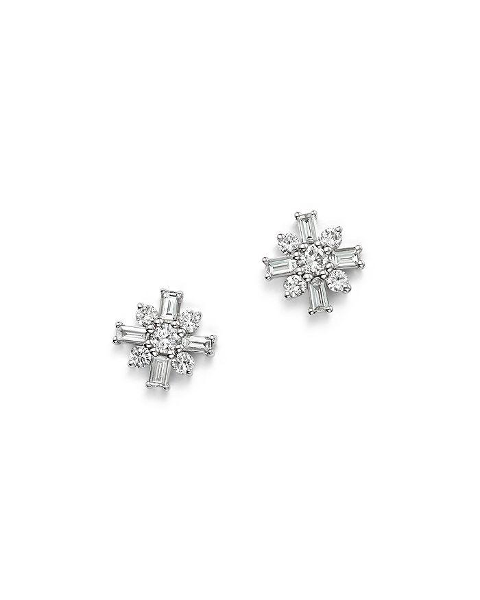 03bdd82660342 14K White Gold Mosaic Diamond Stud Earrings