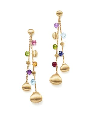 Marco Bicego 18K Yellow Gold Paradise Teardrop Long Double Strand Gemstone Earrings