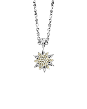 Lagos 18K Gold & Sterling Silver North Star Diamond Small Pendant Necklace, 16-Jewelry & Accessories