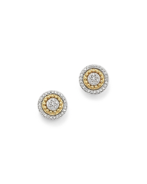 Bloomingdale's Diamond Cluster Beaded Halo Stud Earrings in 14K White & Yellow Gold, .25 ct. t.w. - 100% Exclusive