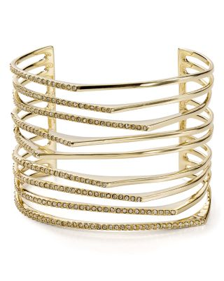 Multi-Row Golden Crystal Origami Cuff Bracelet, Gold/Clear