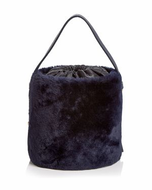ARRON Small Shearling & Leather Bucket Bag in Navy/Gold