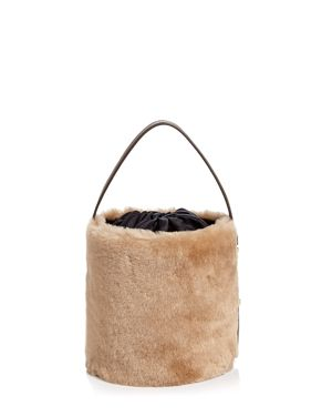ARRON Small Shearling & Leather Bucket Bag in Camel/Gold