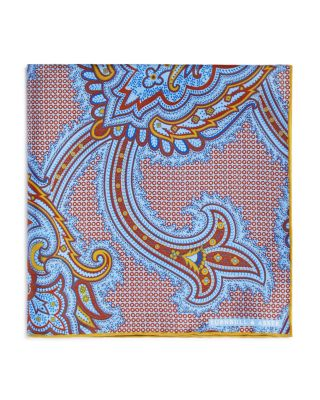 Turquoise and Green Paisley Crest Print Silk Pocket Square Turnbull & Asser Q9qpCdE7
