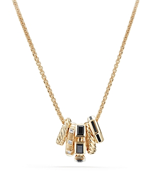 David Yurman Stax Color Pendant Necklace with Black Spinel, Black Enamel & Diamonds in 18K Gold