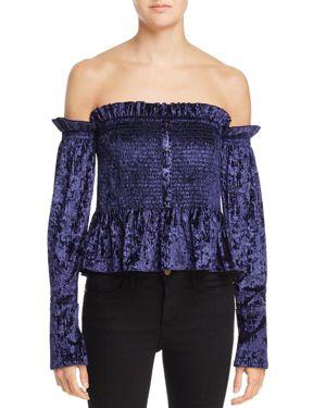 Petersyn Blaine Off-the-Shoulder Velvet Top