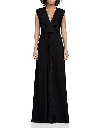 BCBGMAXAZRIA - V-Neck Draped Gown - 100% Exclusive