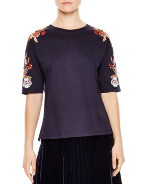Sandro Desir Floral Embroidery Tee