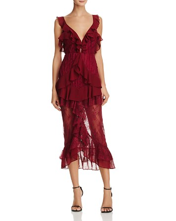$For Love & Lemons Daphne Ruffle-Trimmed Lace Dress - Bloomingdale's
