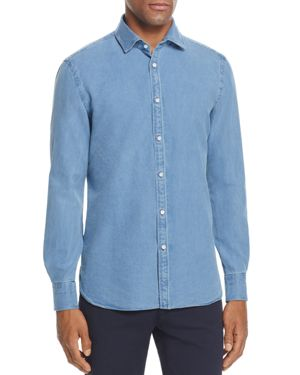 Eidos Slim Fit Button-Down Chambray Shirt