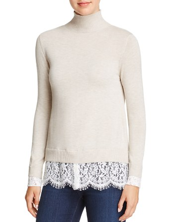 $Joie Fredrika Lace-Trimmed Mock-Neck Sweater - Bloomingdale's