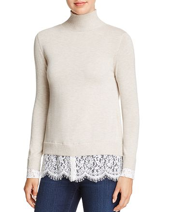 Joie - Fredrika Lace-Trimmed Mock-Neck Sweater