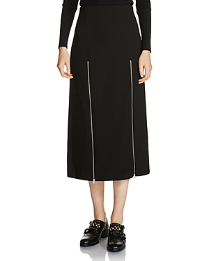 Maje Jona Zip-Detail Slit Midi Skirt at Bloomingdale's
