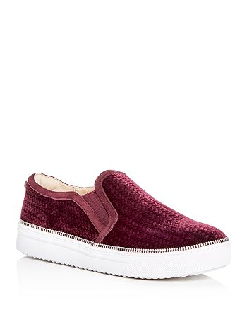 Botkier - Women's Harper Embossed Velvet Slip-On Platform Sneakers