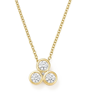 Bloomingdale's Diamond Three Stone Bezel Pendant Necklace in 14K Yellow Gold, .40 ct. t.w. - 100% Exclusive